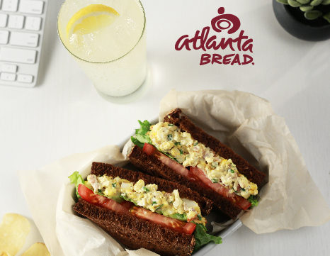 Egg salad with bacon on fresh baked pumpernickel.