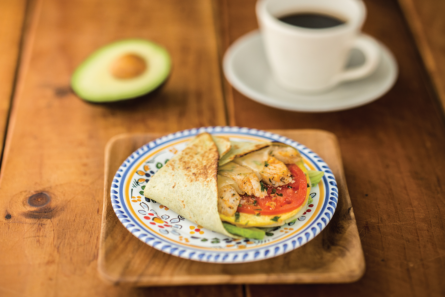 Breakfast Wrap, smoked chicken and avocado